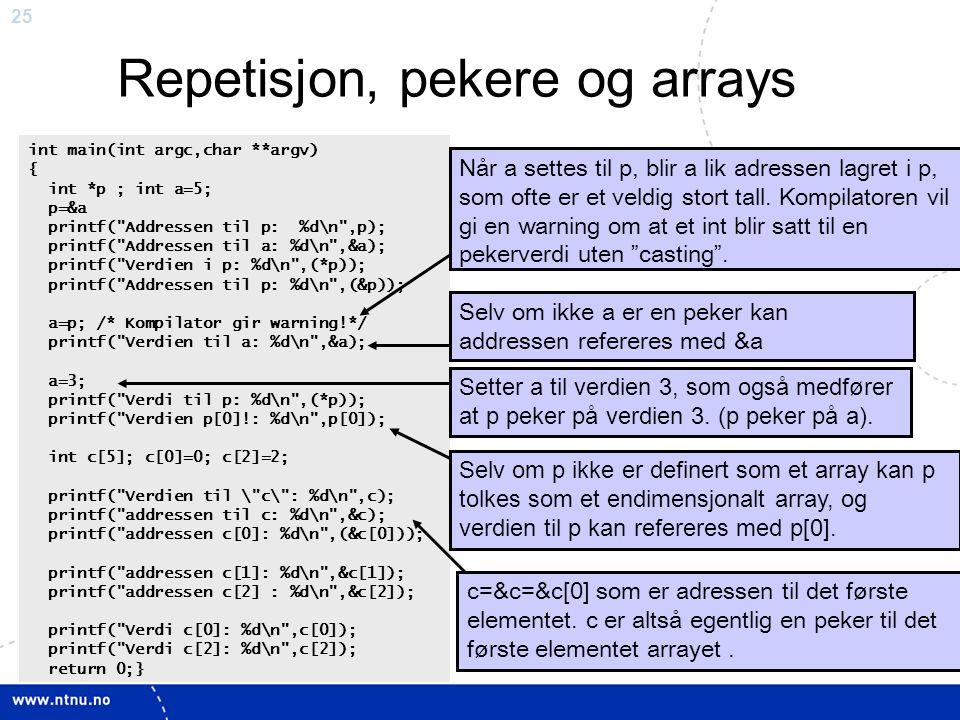 25 Repetisjon, pekere og arrays int main(int argc,char **argv) { int *p ; int a=5; p=&a printf(
