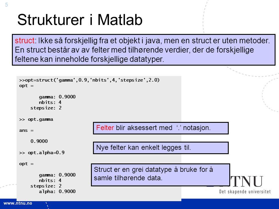 5 Strukturer i Matlab struct: Ikke så forskjellig fra et objekt i java, men en struct er uten metoder. En struct består av av felter med tilhørende ve