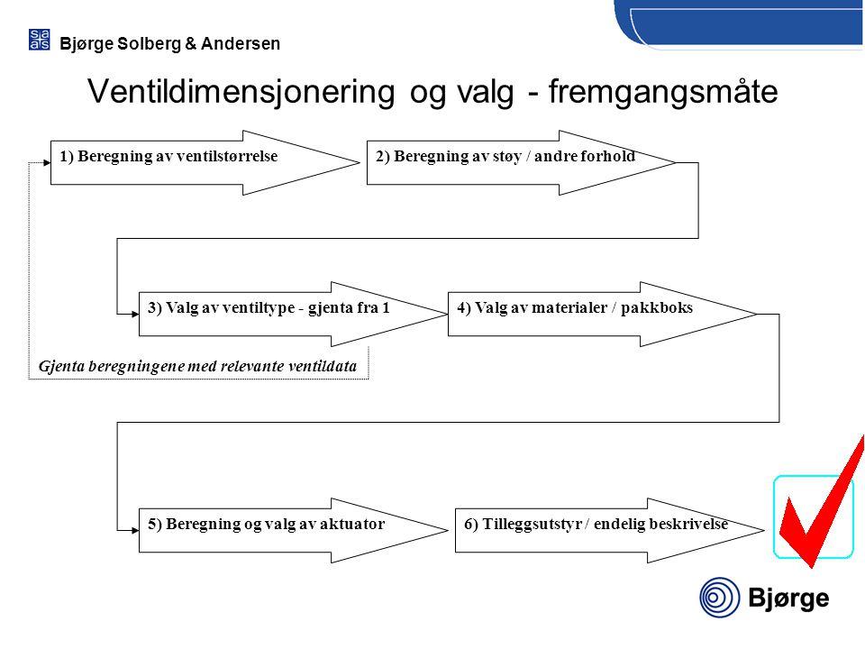 Bjørge Solberg & Andersen Ventildimensjonering og valg - fremgangsmåte 1) Beregning av ventilstørrelse2) Beregning av støy / andre forhold 3) Valg av