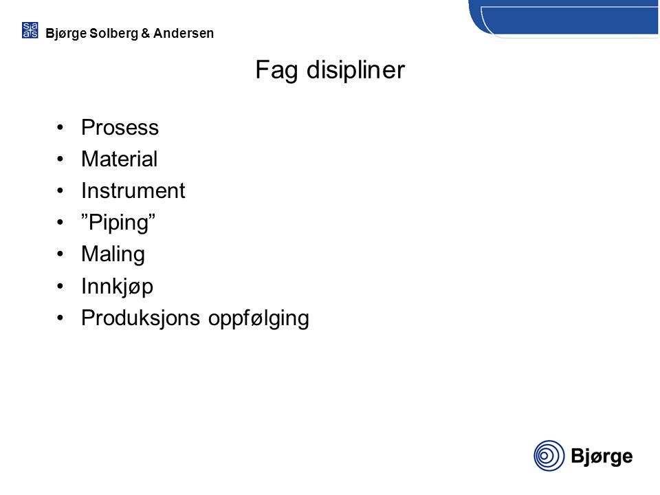 """Bjørge Solberg & Andersen Fag disipliner Prosess Material Instrument """"Piping"""" Maling Innkjøp Produksjons oppfølging"""