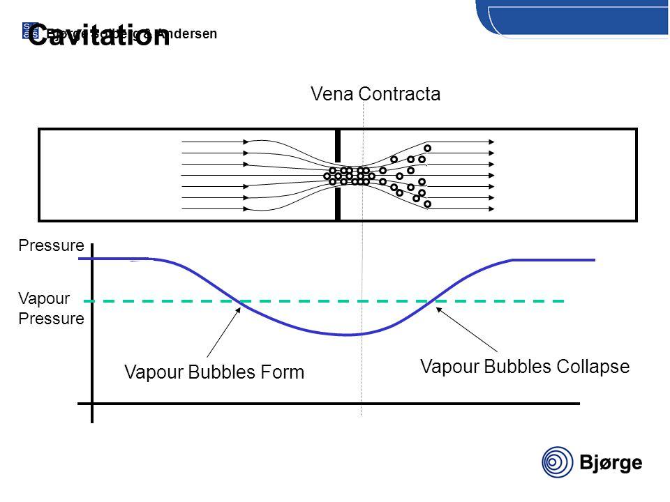 Bjørge Solberg & Andersen Pressure Cavitation Vena Contracta Vapour Pressure Vapour Bubbles Form Vapour Bubbles Collapse