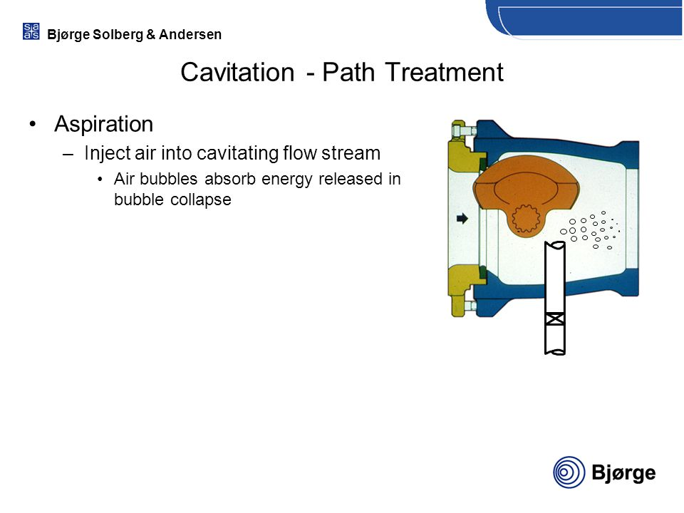 Bjørge Solberg & Andersen Cavitation - Path Treatment Aspiration –Inject air into cavitating flow stream Air bubbles absorb energy released in bubble