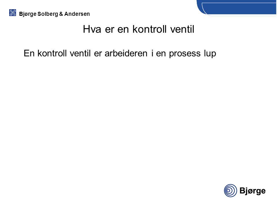 Bjørge Solberg & Andersen Hva er en kontroll ventil En kontroll ventil er arbeideren i en prosess lup