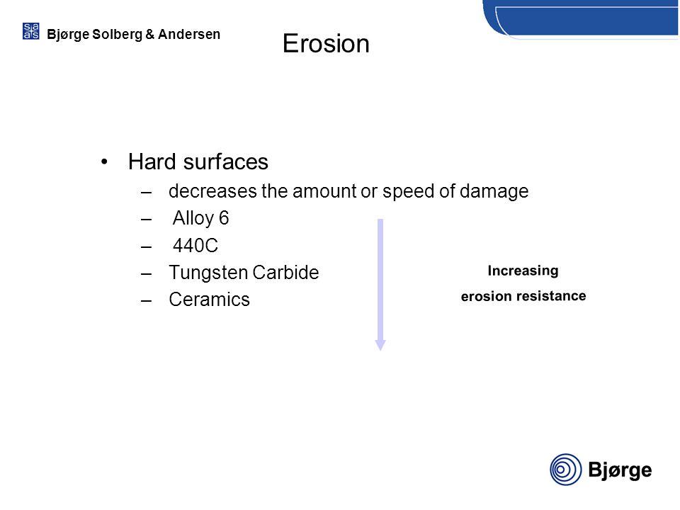 Bjørge Solberg & Andersen Erosion Hard surfaces –decreases the amount or speed of damage –Alloy 6 –440C –Tungsten Carbide –Ceramics Increasing erosion