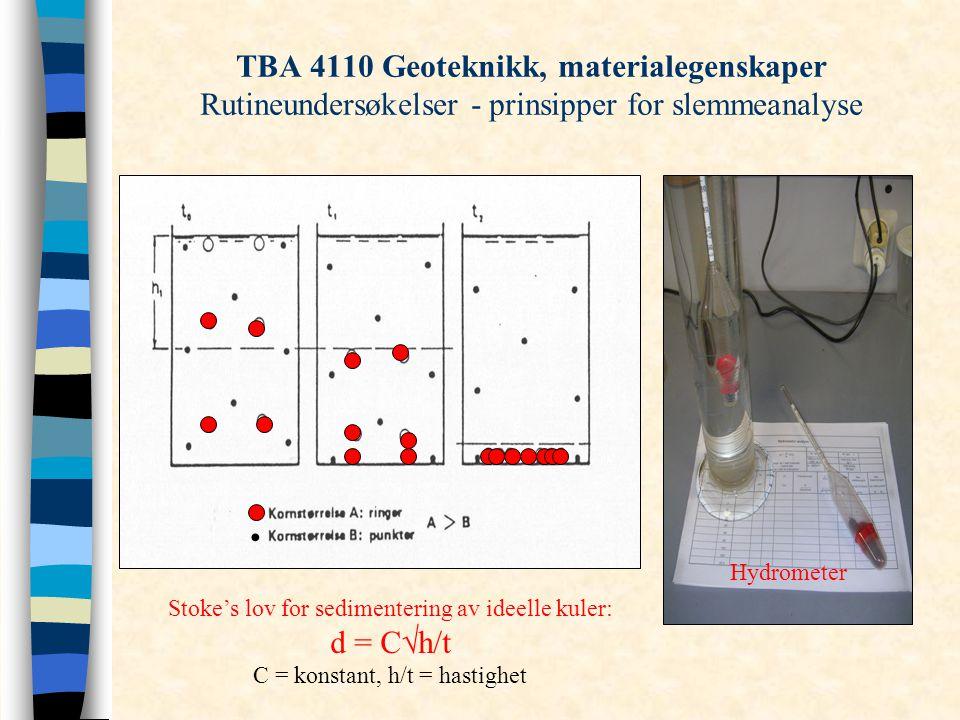 TBA 4110 Geoteknikk, materialegenskaper Rutineundersøkelser - prinsipper for slemmeanalyse Stoke's lov for sedimentering av ideelle kuler: d = C  h/t