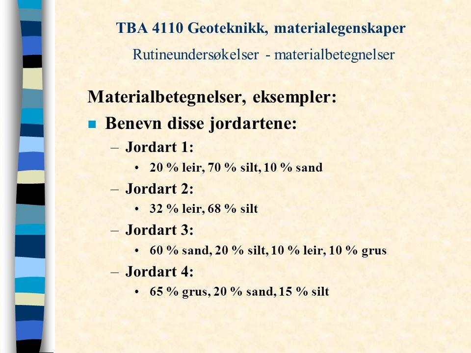 TBA 4110 Geoteknikk, materialegenskaper Rutineundersøkelser - materialbetegnelser Materialbetegnelser, eksempler: n Benevn disse jordartene: –Jordart 1: 20 % leir, 70 % silt, 10 % sand –Jordart 2: 32 % leir, 68 % silt –Jordart 3: 60 % sand, 20 % silt, 10 % leir, 10 % grus –Jordart 4: 65 % grus, 20 % sand, 15 % silt
