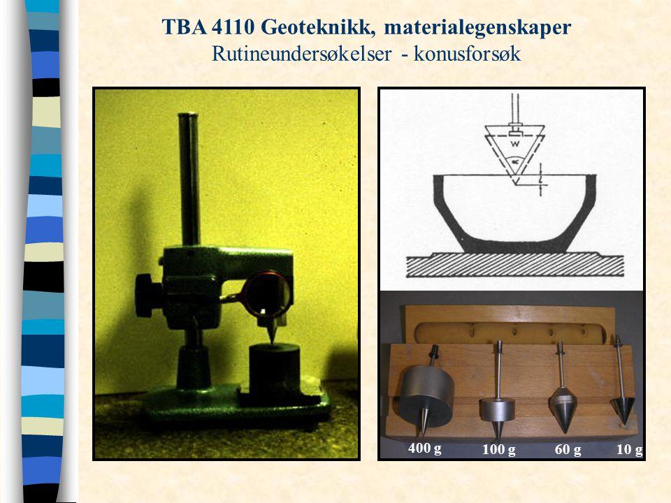 Konusinntrykk, i (mm) TBA 4110 Geoteknikk, materialegenskaper Rutineundersøkelser - konusforsøk 400 g 100 g60 g10 g