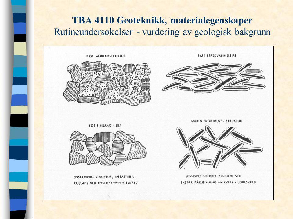 TBA 4110 Geoteknikk, materialegenskaper Rutineundersøkelser - vurdering av geologisk bakgrunn