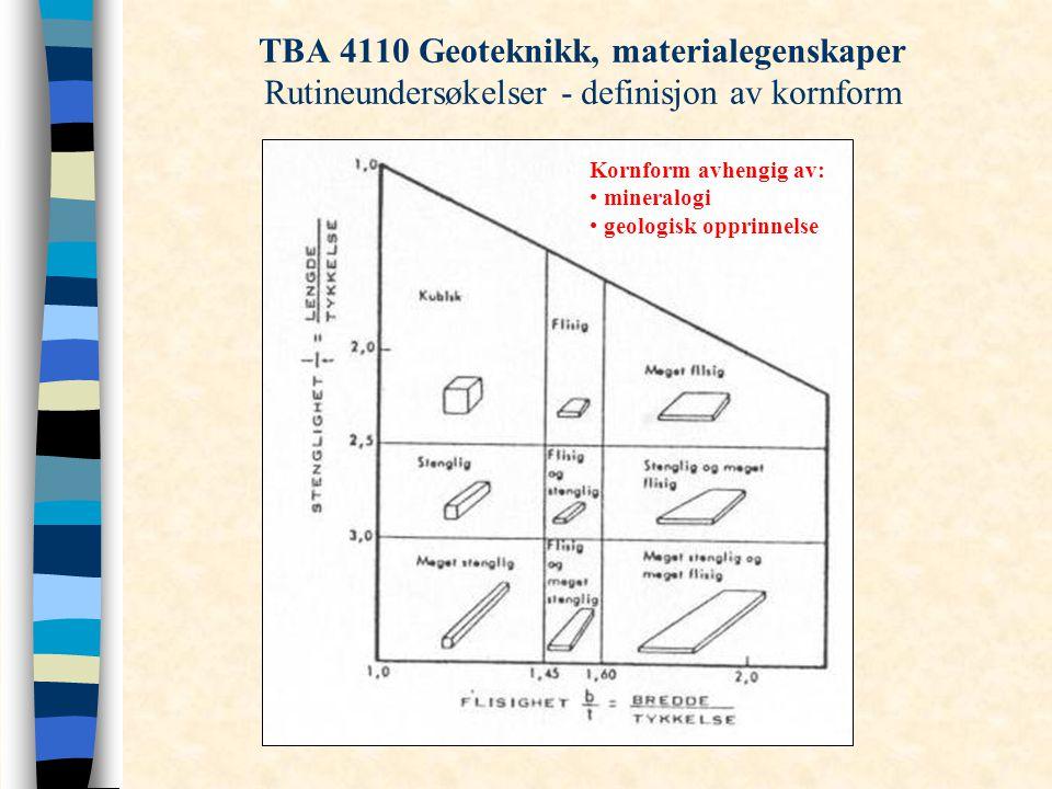 TBA 4110 Geoteknikk, materialegenskaper Rutineundersøkelser - definisjon av kornform Kornform avhengig av: mineralogi geologisk opprinnelse