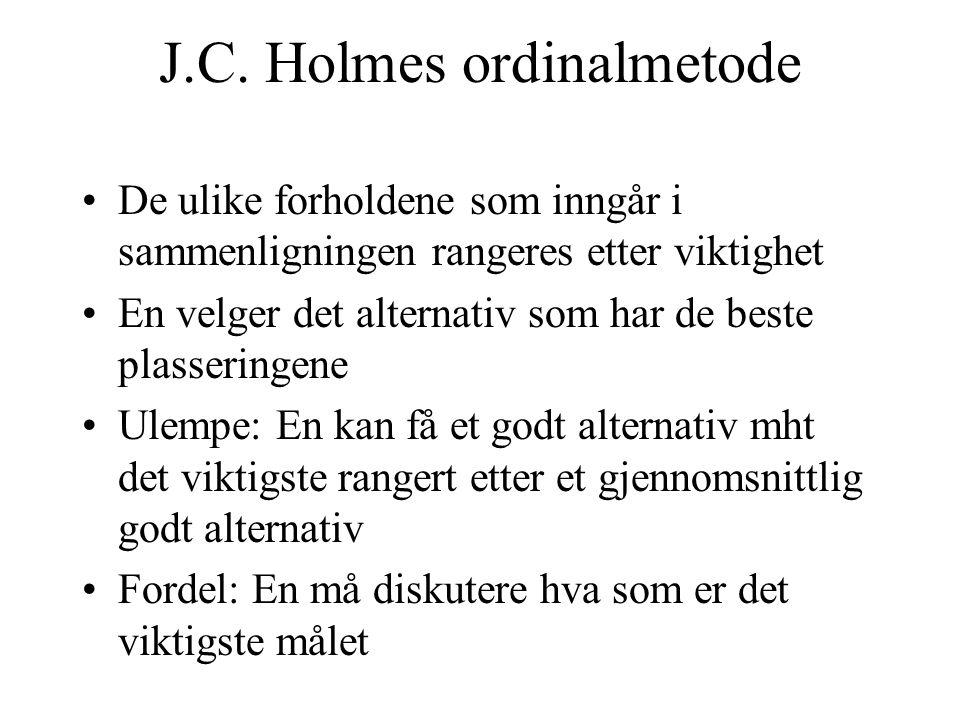 J.C. Holmes ordinalmetode De ulike forholdene som inngår i sammenligningen rangeres etter viktighet En velger det alternativ som har de beste plasseri