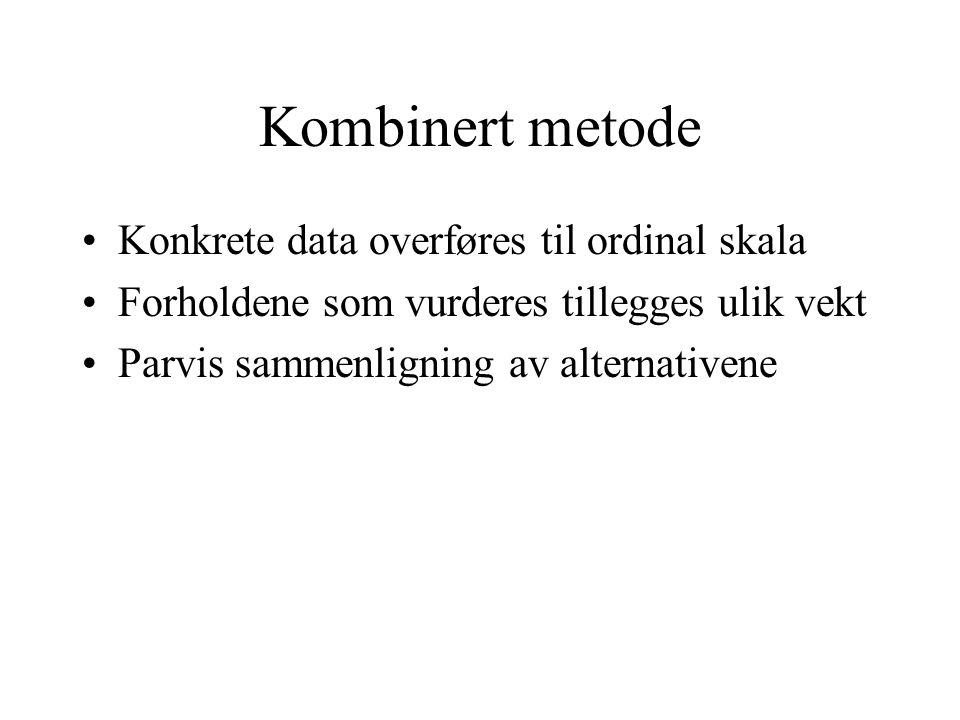 Kombinert metode Konkrete data overføres til ordinal skala Forholdene som vurderes tillegges ulik vekt Parvis sammenligning av alternativene
