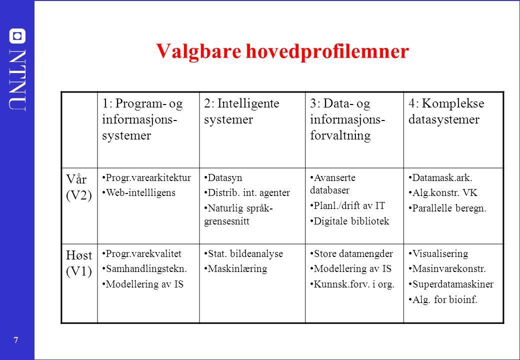 7 Valgbare hovedprofilemner 1: Program- og informasjons- systemer 2: Intelligente systemer 3: Data- og informasjons- forvaltning 4: Komplekse datasystemer Vår (V2) Progr.varearkitektur Web-intellligens Datasyn Distrib.