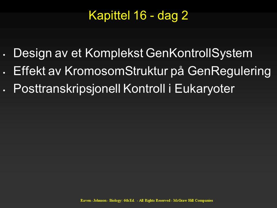 Kapittel 16 - dag 2 Design av et Komplekst GenKontrollSystem Effekt av KromosomStruktur på GenRegulering Posttranskripsjonell Kontroll i Eukaryoter