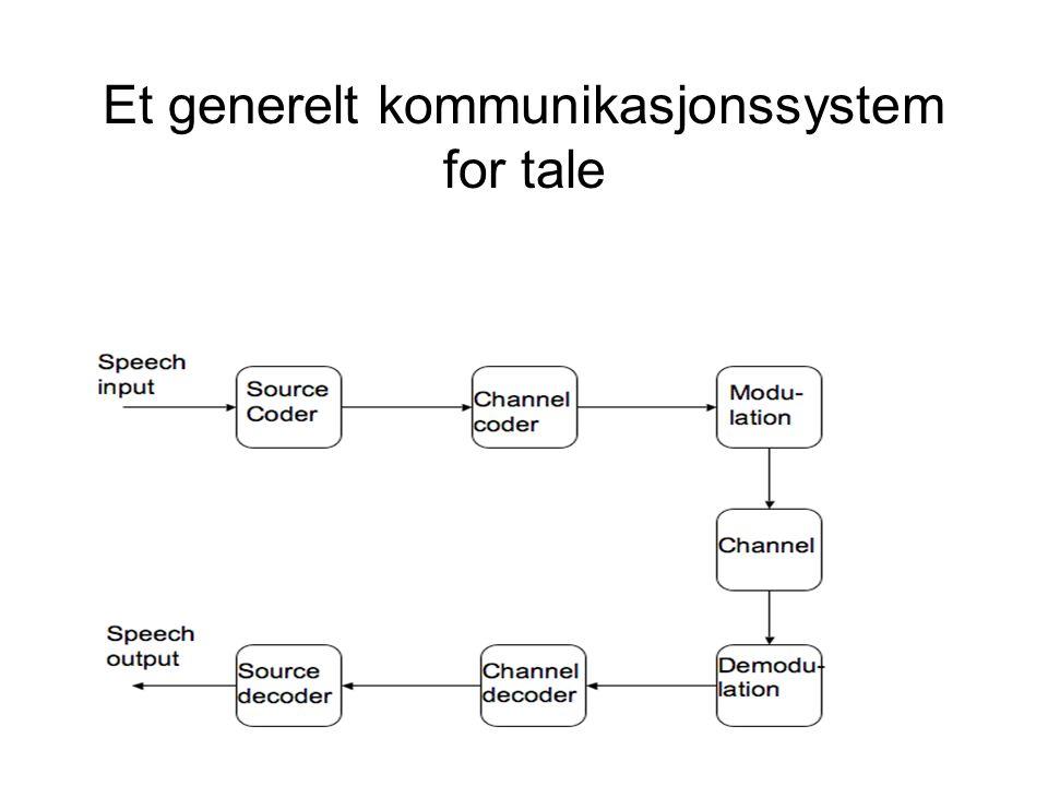 Et generelt kommunikasjonssystem for tale