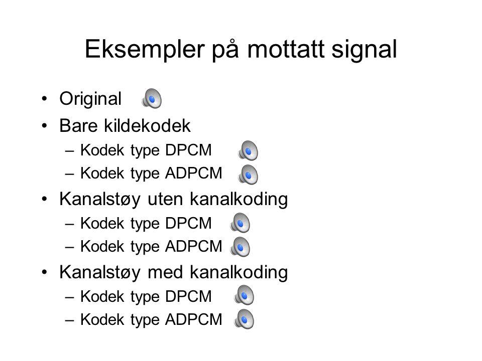 Eksempler på mottatt signal Original Bare kildekodek –Kodek type DPCM –Kodek type ADPCM Kanalstøy uten kanalkoding –Kodek type DPCM –Kodek type ADPCM Kanalstøy med kanalkoding –Kodek type DPCM –Kodek type ADPCM