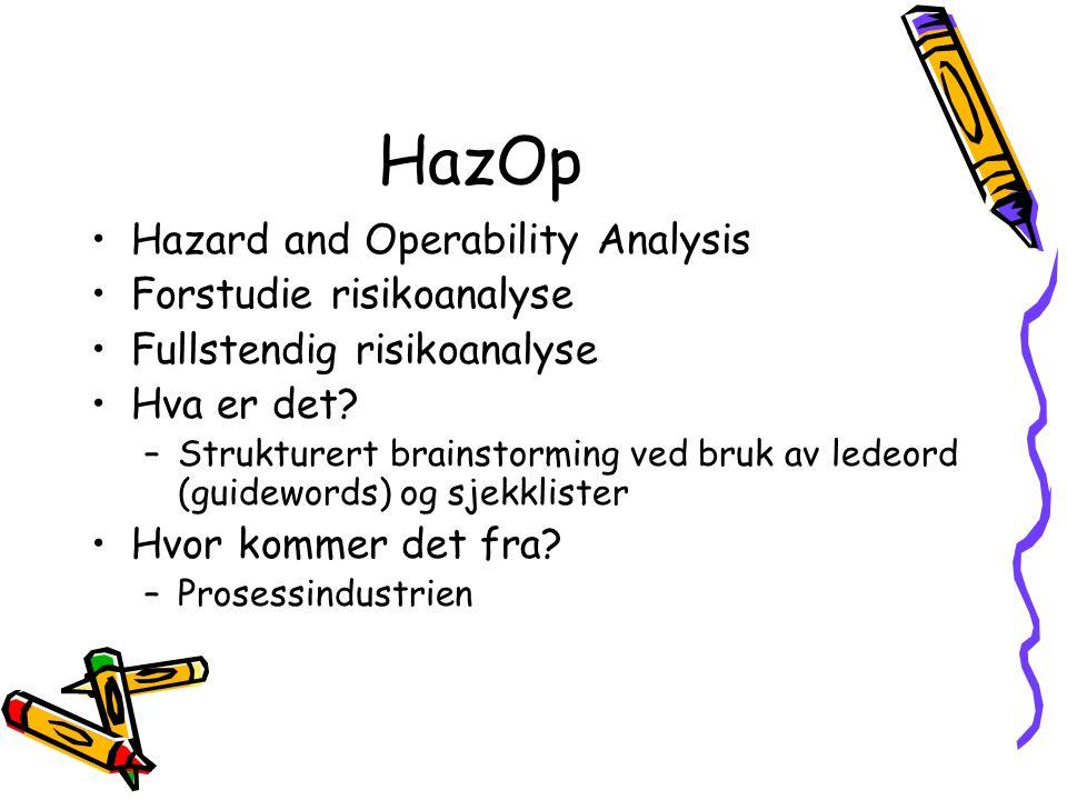 HazOp Hazard and Operability Analysis Forstudie risikoanalyse Fullstendig risikoanalyse Hva er det? –Strukturert brainstorming ved bruk av ledeord (gu