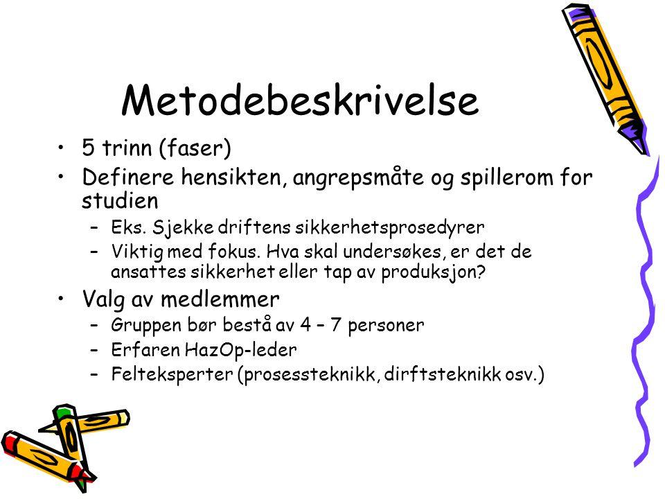 Metodebeskrivelse 5 trinn (faser) Definere hensikten, angrepsmåte og spillerom for studien –Eks.
