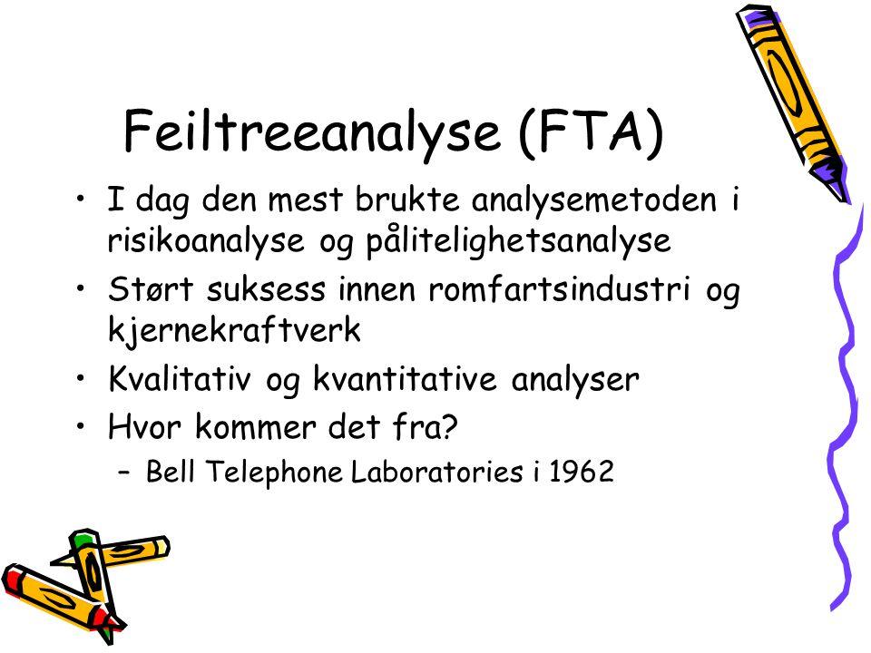 Feiltreeanalyse (FTA) I dag den mest brukte analysemetoden i risikoanalyse og pålitelighetsanalyse Størt suksess innen romfartsindustri og kjernekraft