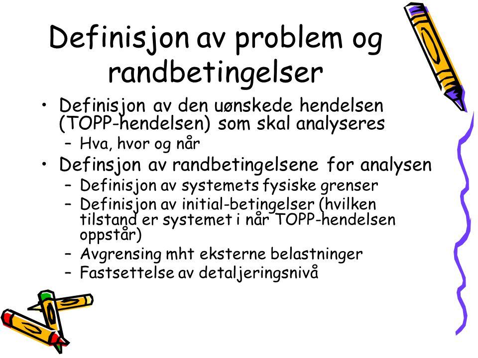 Definisjon av problem og randbetingelser Definisjon av den uønskede hendelsen (TOPP-hendelsen) som skal analyseres –Hva, hvor og når Definsjon av randbetingelsene for analysen –Definisjon av systemets fysiske grenser –Definisjon av initial-betingelser (hvilken tilstand er systemet i når TOPP-hendelsen oppstår) –Avgrensing mht eksterne belastninger –Fastsettelse av detaljeringsnivå