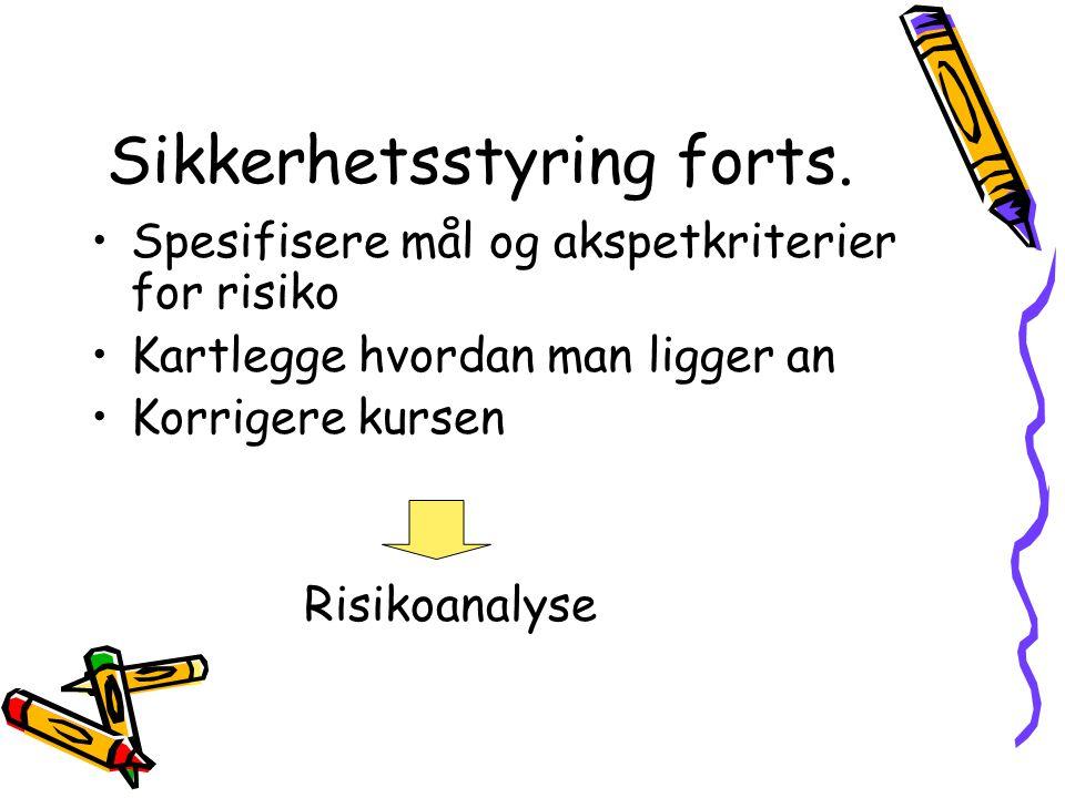 Norsk Standard NS5814 Krav til risikoanalyser I prosjekteringsfasen kan risikoanalyser benyttes –Som design -verktøy –Som et kontoll -verktøy I driftsfasen kan risikoanalyser benyttes –Analysere effekten av forandringer –Analysere årsaker til oppståtte problemer
