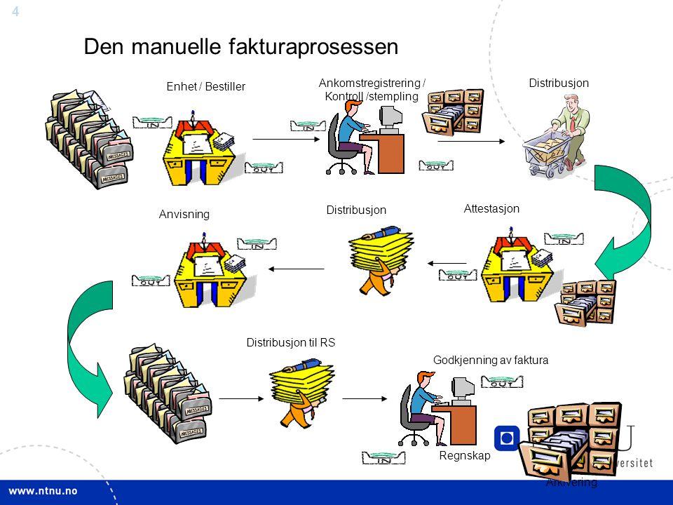 4 Distribusjon Enhet / Bestiller Distribusjon Regnskap Godkjenning av faktura Arkivering Ankomstregistrering / Kontroll /stempling Den manuelle faktur