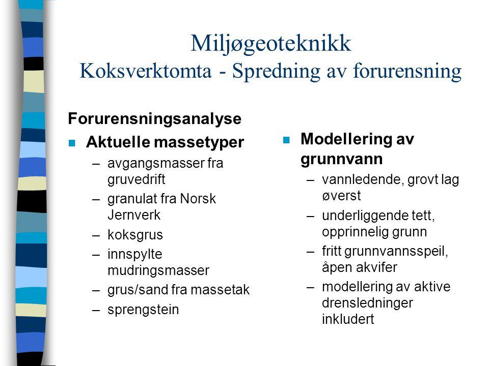 Miljøgeoteknikk Koksverktomta - Spredning av forurensning Forurensningsanalyse n Aktuelle massetyper –avgangsmasser fra gruvedrift –granulat fra Norsk