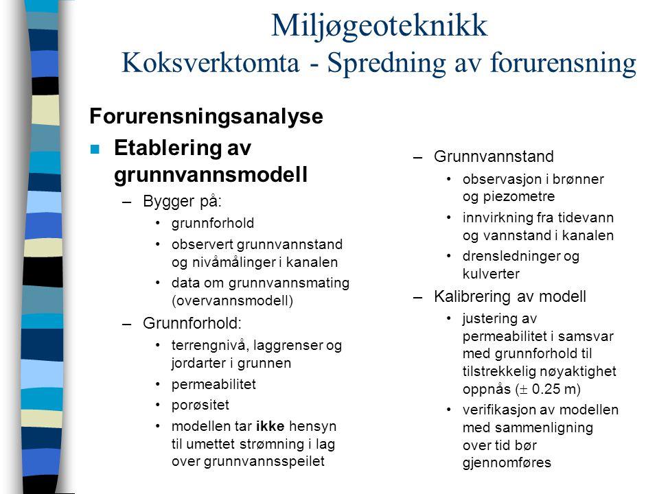 Miljøgeoteknikk Koksverktomta - Spredning av forurensning Forurensningsanalyse n Etablering av grunnvannsmodell –Bygger på: grunnforhold observert gru