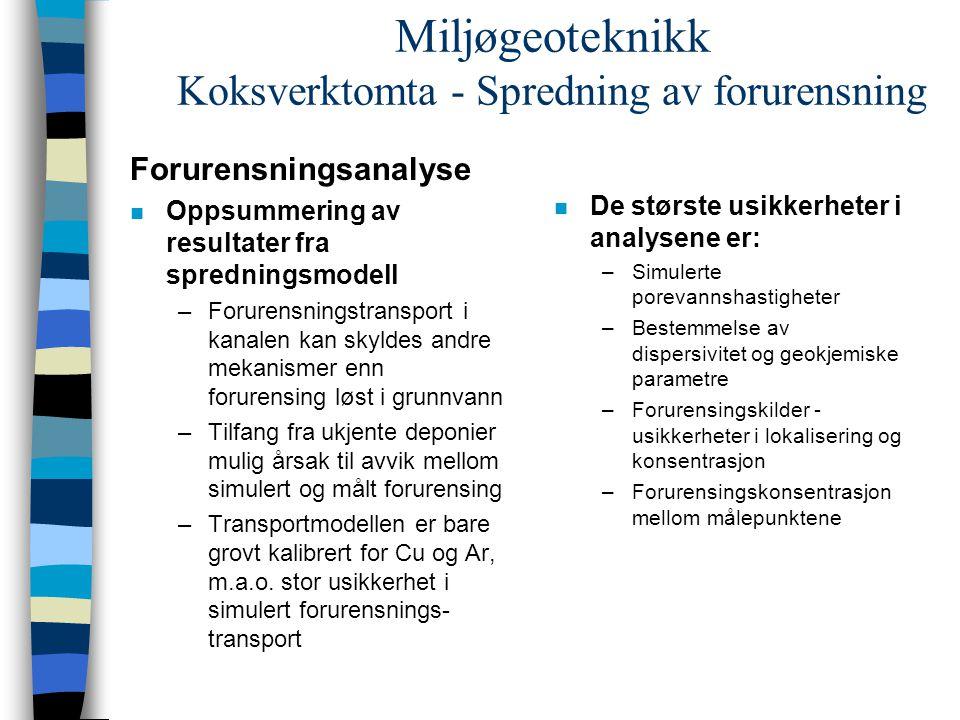 Miljøgeoteknikk Koksverktomta - Spredning av forurensning Forurensningsanalyse n Oppsummering av resultater fra spredningsmodell –Forurensningstranspo