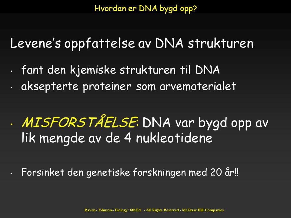 Raven - Johnson - Biology: 6th Ed. - All Rights Reserved - McGraw Hill Companies Levene's oppfattelse av DNA strukturen fant den kjemiske strukturen t