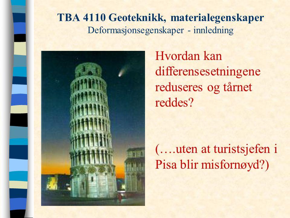 TBA 4110 Geoteknikk, materialegenskaper Deformasjonsegenskaper - innledning Hvordan kan differensesetningene reduseres og tårnet reddes? (….uten at tu