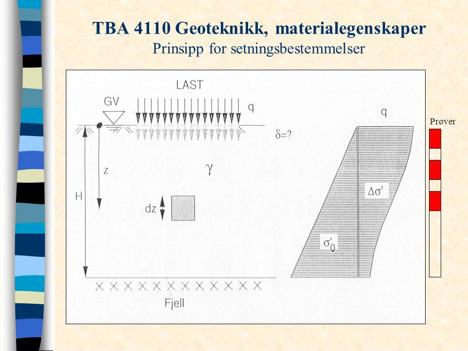 TBA 4110 Geoteknikk, materialegenskaper Prinsipp for setningsbestemmelser Prøver