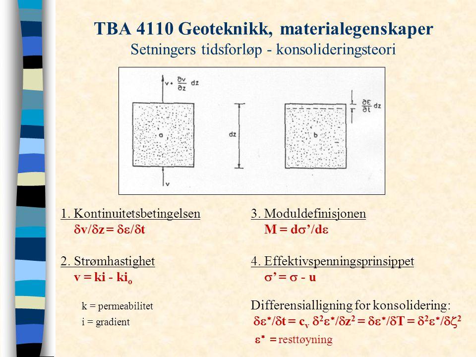 TBA 4110 Geoteknikk, materialegenskaper Setningers tidsforløp - konsolideringsteori 1. Kontinuitetsbetingelsen3. Moduldefinisjonen  v/  z =  /  t