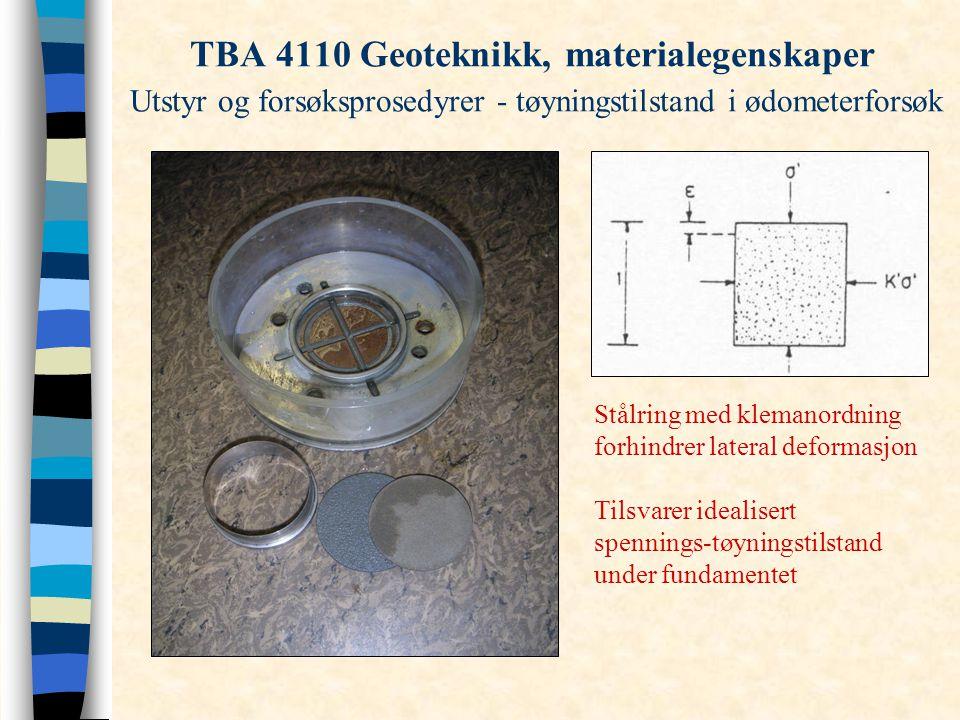 TBA 4110 Geoteknikk, materialegenskaper Utstyr og forsøksprosedyrer - tøyningstilstand i ødometerforsøk Stålring med klemanordning forhindrer lateral