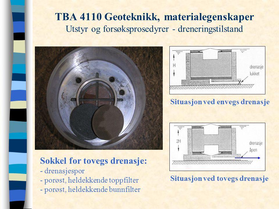TBA 4110 Geoteknikk, materialegenskaper Utstyr og forsøksprosedyrer - dreneringstilstand Sokkel for tovegs drenasje: - drenasjespor - porøst, heldekke
