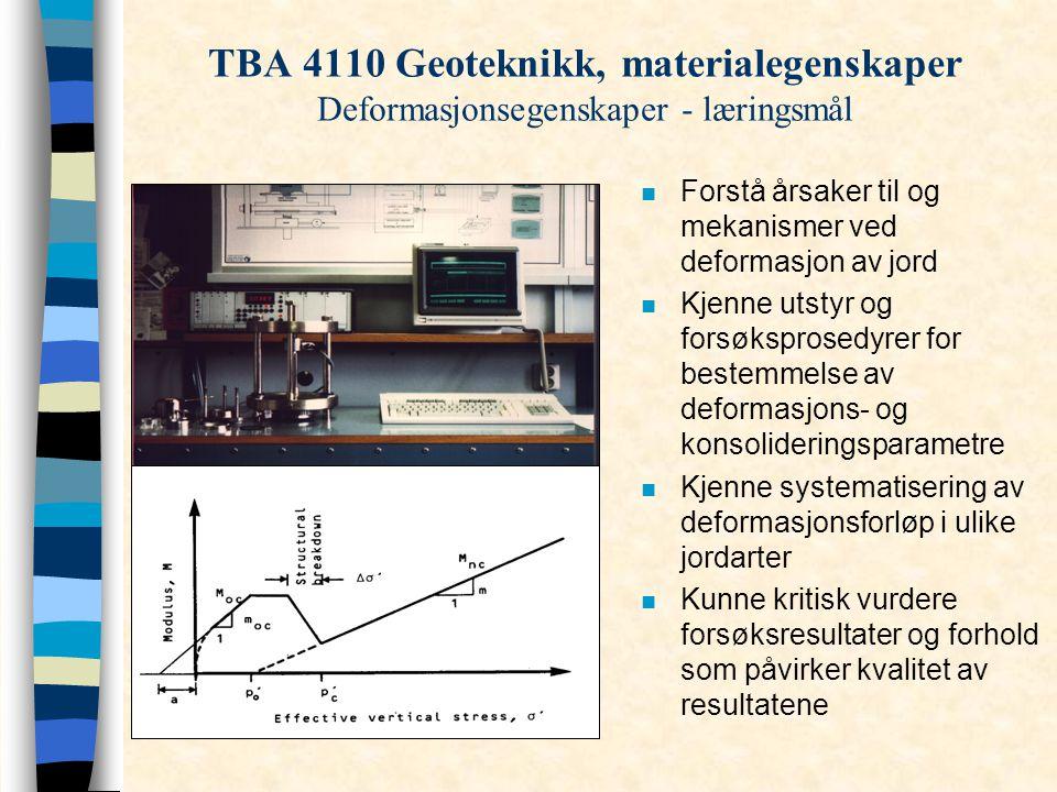 n Forstå årsaker til og mekanismer ved deformasjon av jord n Kjenne utstyr og forsøksprosedyrer for bestemmelse av deformasjons- og konsolideringspara