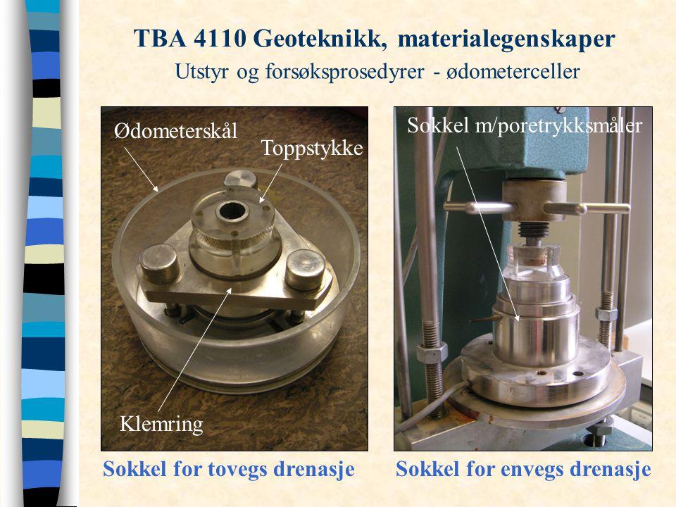 TBA 4110 Geoteknikk, materialegenskaper Utstyr og forsøksprosedyrer - ødometerceller Sokkel for tovegs drenasjeSokkel for envegs drenasje Klemring Ødo