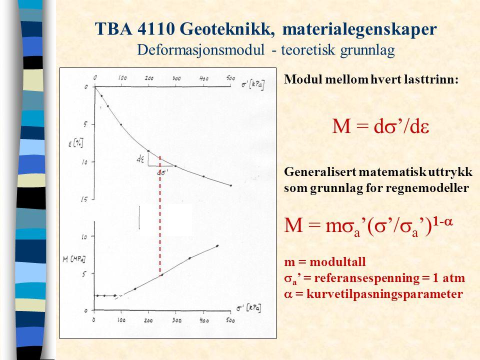 TBA 4110 Geoteknikk, materialegenskaper Deformasjonsmodul - teoretisk grunnlag Modul mellom hvert lasttrinn: M = d  '/d  Generalisert matematisk utt