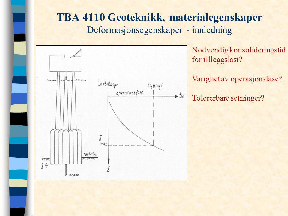 TBA 4110 Geoteknikk, materialegenskaper Deformasjonsegenskaper - innledning Nødvendig konsolideringstid for tilleggslast? Varighet av operasjonsfase?
