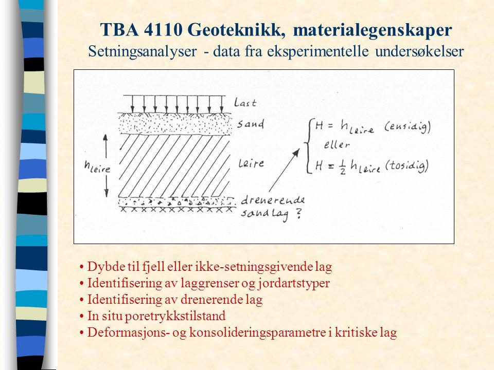 TBA 4110 Geoteknikk, materialegenskaper Setningsanalyser - data fra eksperimentelle undersøkelser Dybde til fjell eller ikke-setningsgivende lag Ident