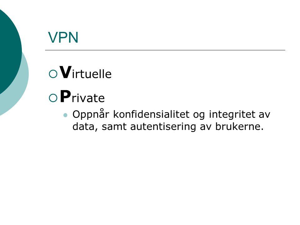  V irtuelle  P rivate  N ettverk Intranett VPN Ekstranett VPN Remote Access VPN VPN