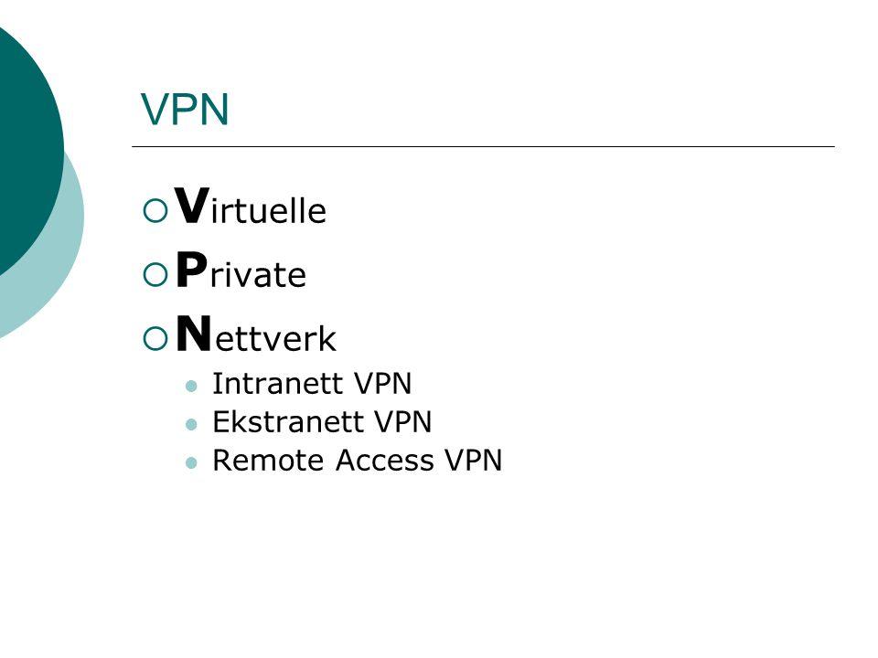 Lag 2 Virtuelle private oppringte nett  Tillater brukere å koble seg opp via en ad-hoc tunnel til et annet nett ved hjelp av Oppringt (Dial-up, PSTN eller ISDN) PPP (point-to-point protocol) L2TP  Bruker autentisering  Brukeren tildeles en IP adresse fra bedriftens nett