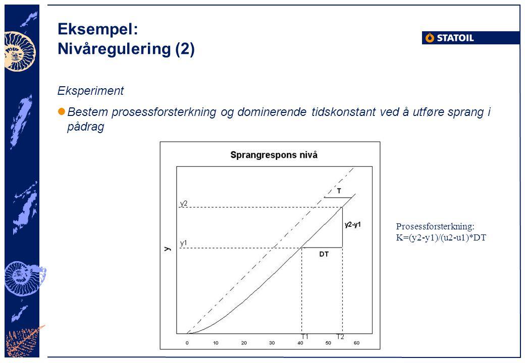 Eksempel: Nivåregulering (2) Eksperiment Bestem prosessforsterkning og dominerende tidskonstant ved å utføre sprang i pådrag Prosessforsterkning: K=(y