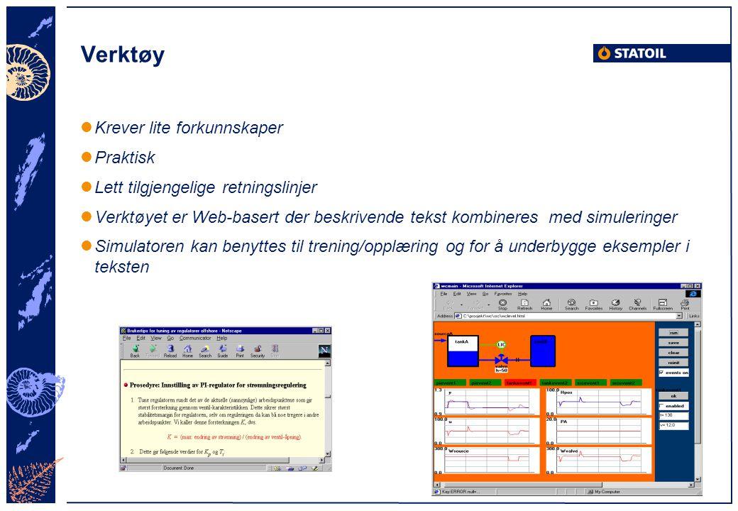 Verktøy Krever lite forkunnskaper Praktisk Lett tilgjengelige retningslinjer Verktøyet er Web-basert der beskrivende tekst kombineres med simuleringer
