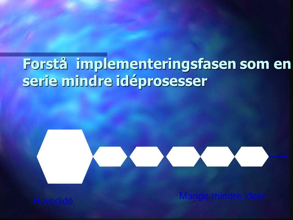 Forstå implementeringsfasen som en serie mindre idéprosesser Hovedidé Mange mindre ideer