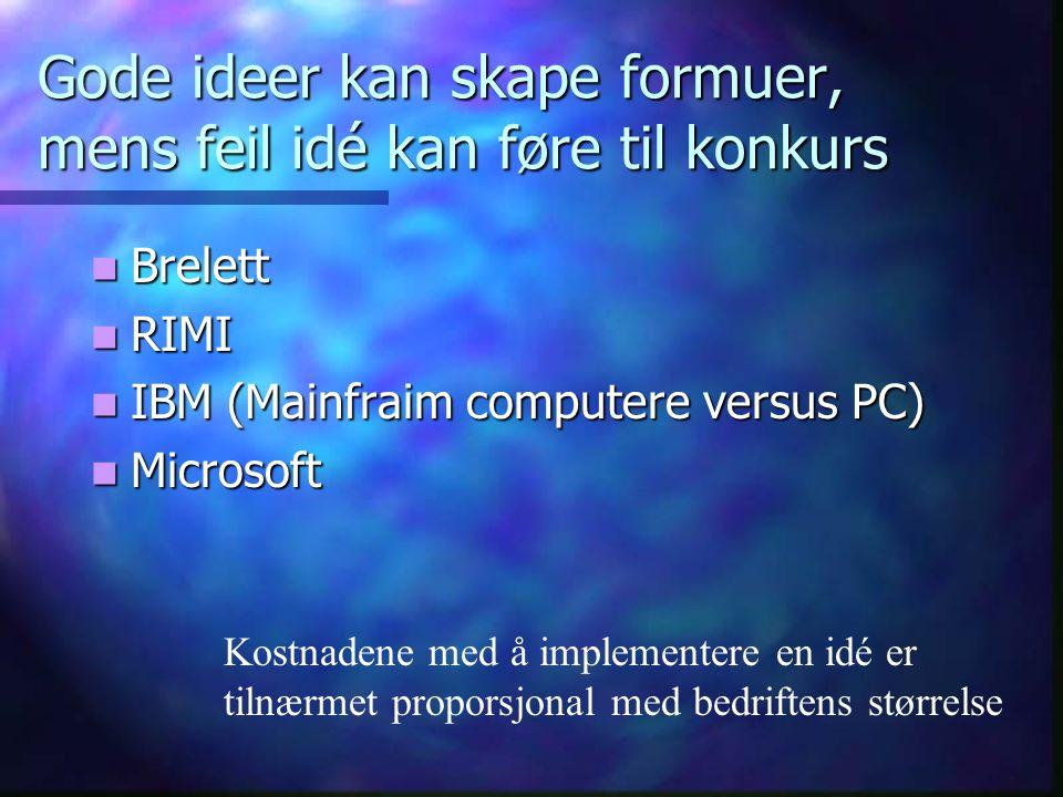 Gode ideer kan skape formuer, mens feil idé kan føre til konkurs Brelett Brelett RIMI RIMI IBM (Mainfraim computere versus PC) IBM (Mainfraim computer