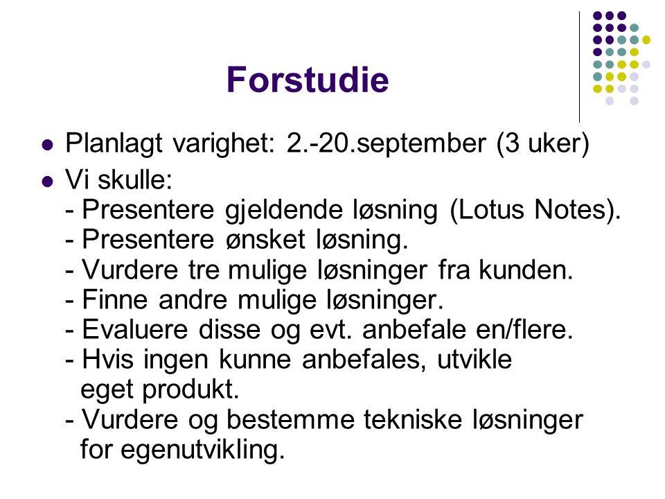 Forstudie Planlagt varighet: 2.-20.september (3 uker) Vi skulle: - Presentere gjeldende løsning (Lotus Notes). - Presentere ønsket løsning. - Vurdere
