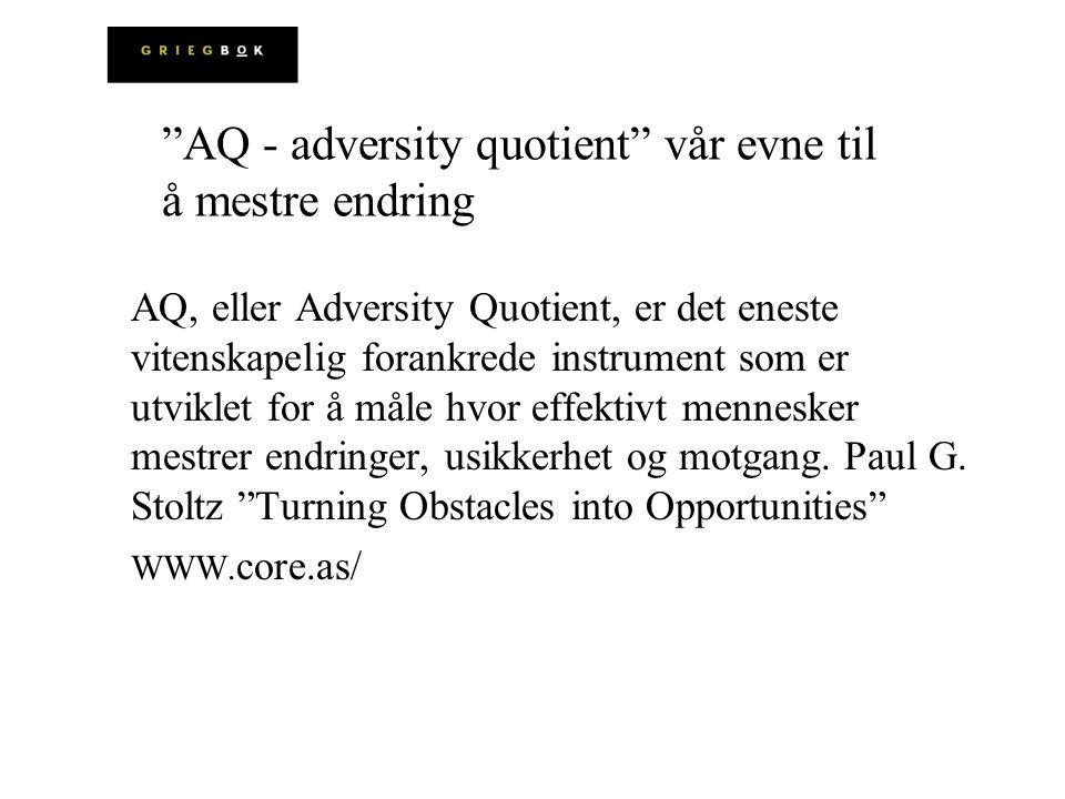 AQ, eller Adversity Quotient, er det eneste vitenskapelig forankrede instrument som er utviklet for å måle hvor effektivt mennesker mestrer endringer,