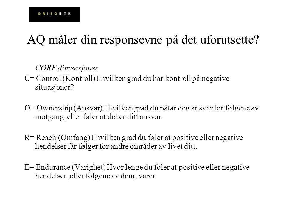 AQ måler din responsevne på det uforutsette? CORE dimensjoner C= Control (Kontroll) I hvilken grad du har kontroll på negative situasjoner? O= Ownersh
