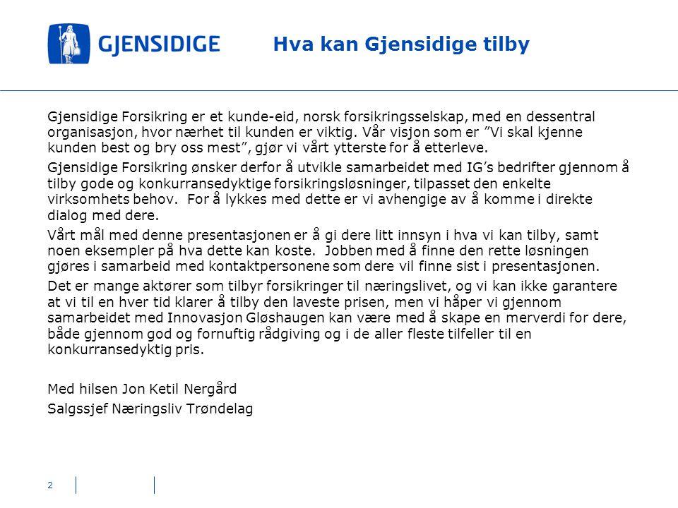 2 Hva kan Gjensidige tilby Gjensidige Forsikring er et kunde-eid, norsk forsikringsselskap, med en dessentral organisasjon, hvor nærhet til kunden er viktig.