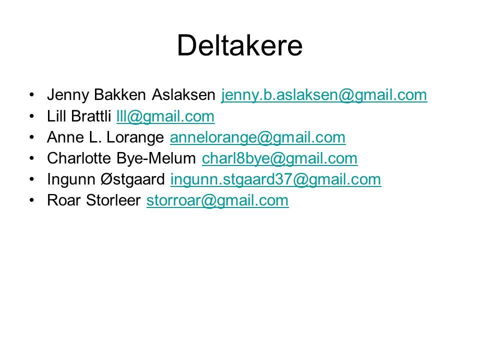 Deltakere Jenny Bakken Aslaksen jenny.b.aslaksen@gmail.comjenny.b.aslaksen@gmail.com Lill Brattli lll@gmail.comlll@gmail.com Anne L.